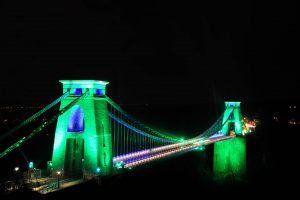 Clifton Suspension Bridge is lit up green to mark Bristol's European Green Capital year 2015 Date: 31/12/2014 Photographer: Simon Galloway/Staff. Copyright: Local World